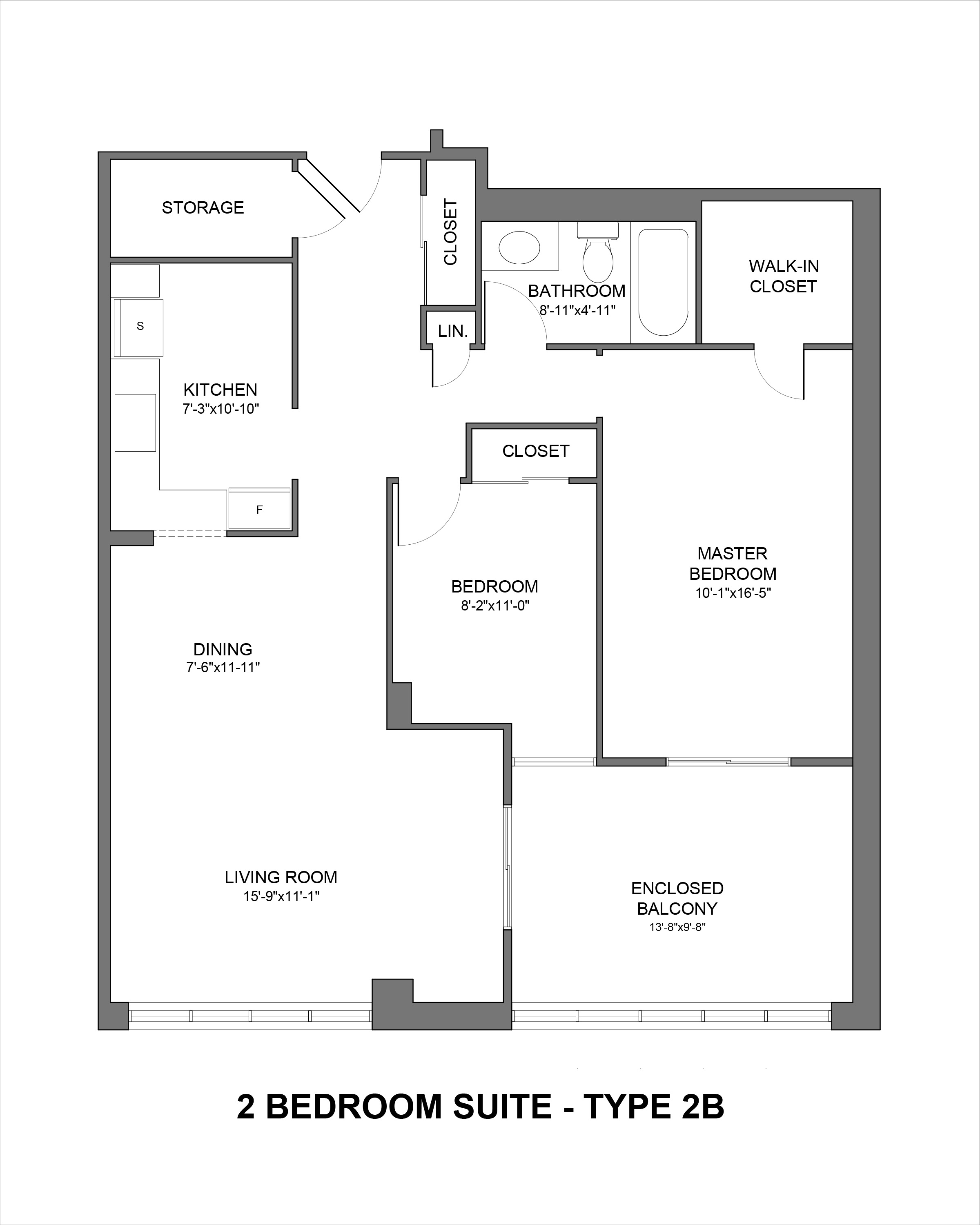 Floorplan for Type 2B 2 bedroom suite