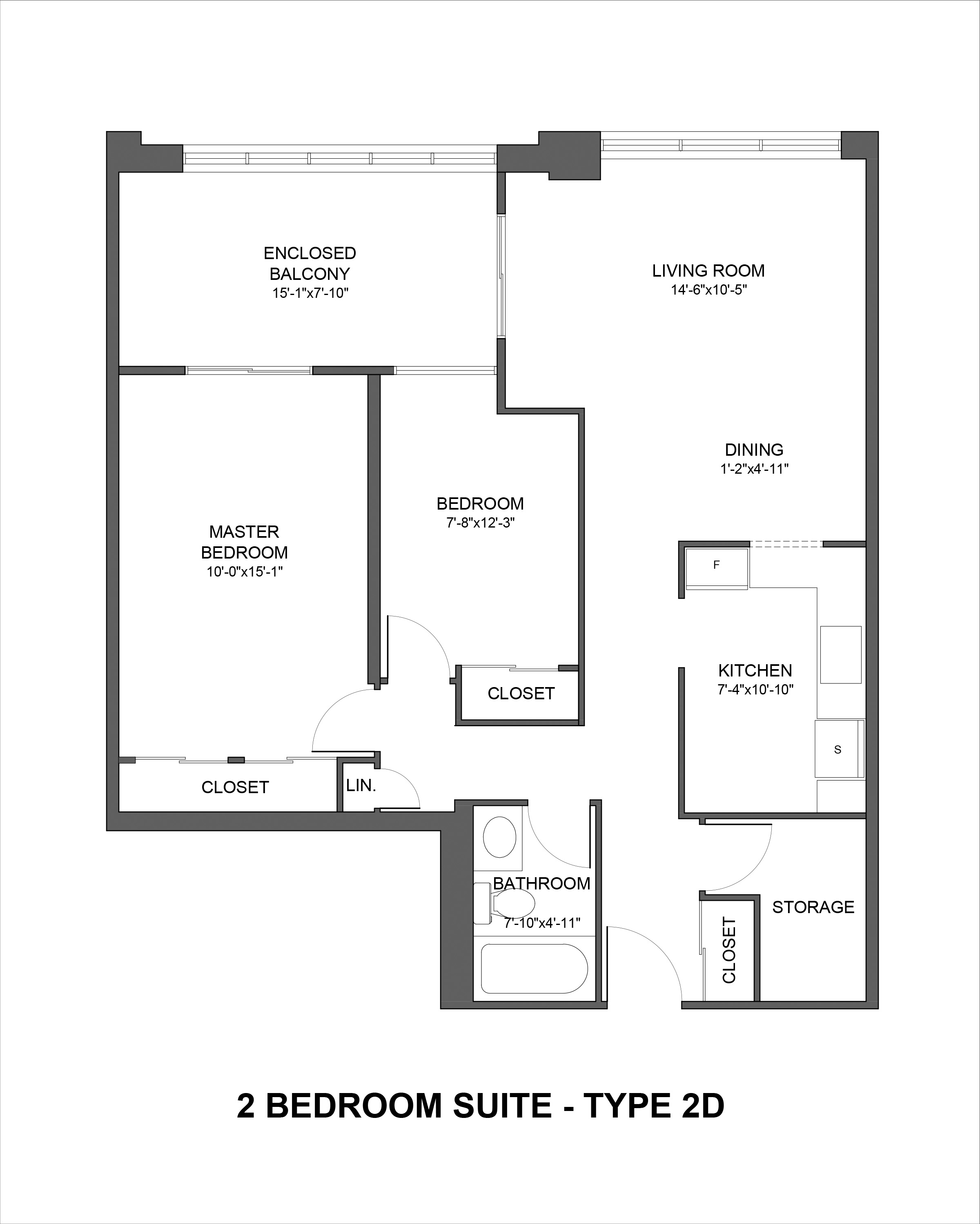 Floorplan for Type 2D 2 bedroom suite